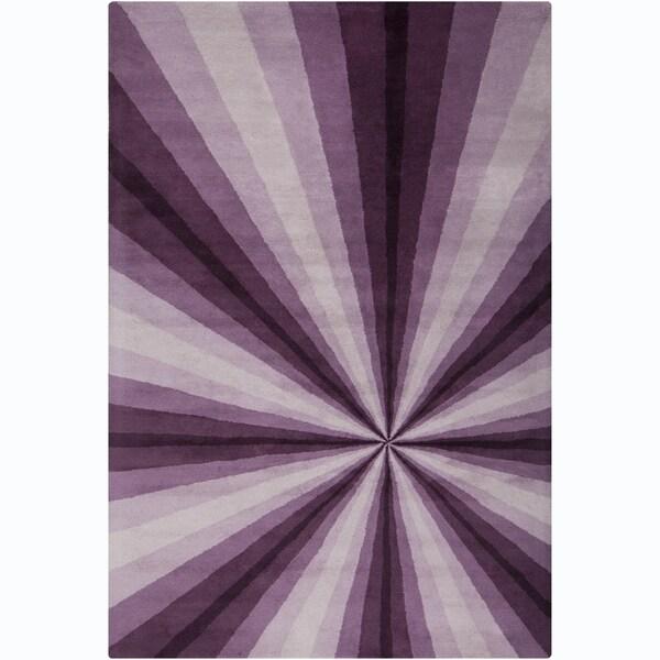 Allie Handmade Abstract Purple/ Lavender Wool Rug (5' x 7'6)