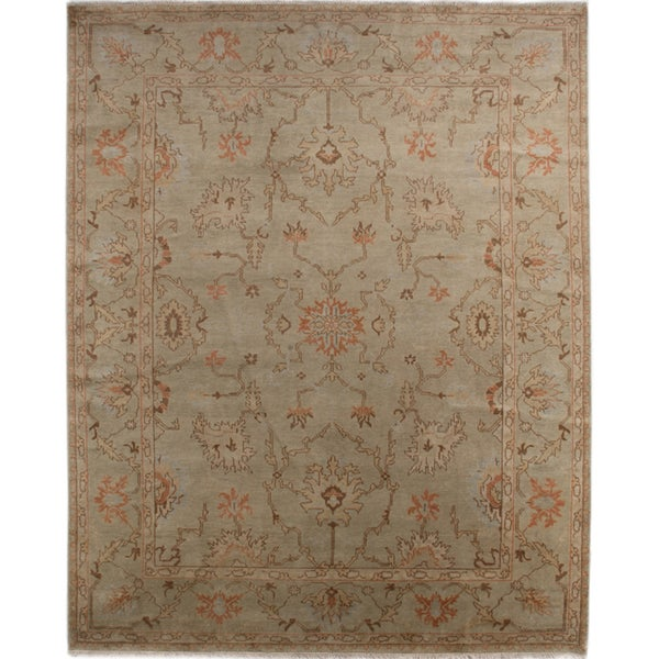 Hand-knotted Oriental Sage Green Wool Area Rug (8' x 10')