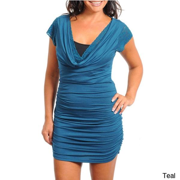Stanzino Women's Plus Lace Cowl Neck Ruched Dress
