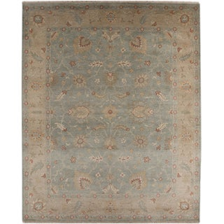 Hand-knotted Oriental Sea Blue Wool Area Rug (10' x 14')