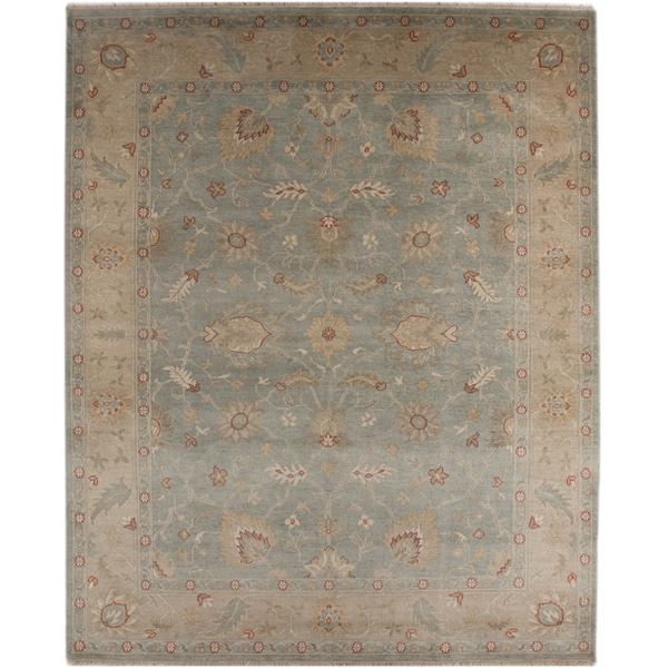 Hand-knotted Oriental Sea Blue Wool Area Rug (8' x 10')