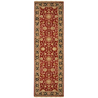 Hand-knotted Oriental Red Wool Runner Rug (2'6 x 12')