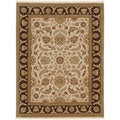 Hand-Knotted Traditional Oriental Dark Ivory Wool Area Rug (2' x 3')