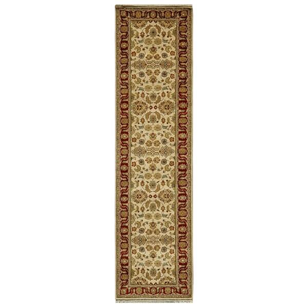 Hand-knotted Oriental Dark Ivory Wool Runner Rug (2'6 x 10')