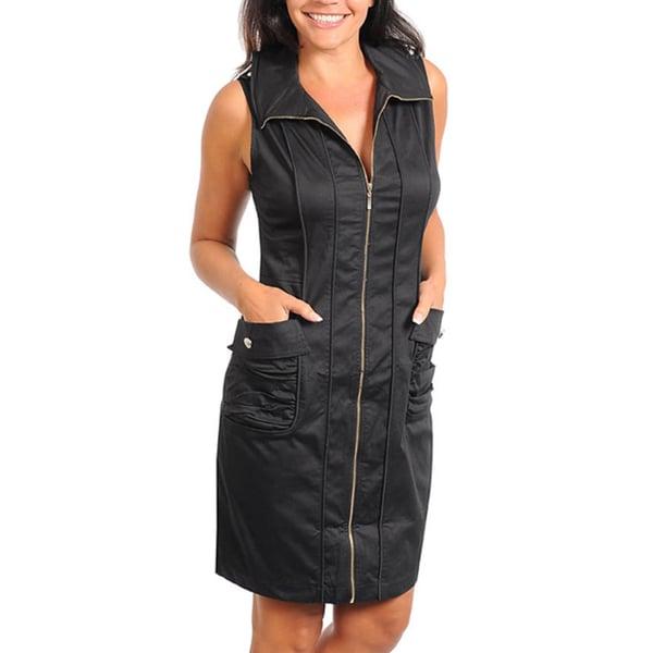 Stanzino Women's Plus Black Zip-up Dress