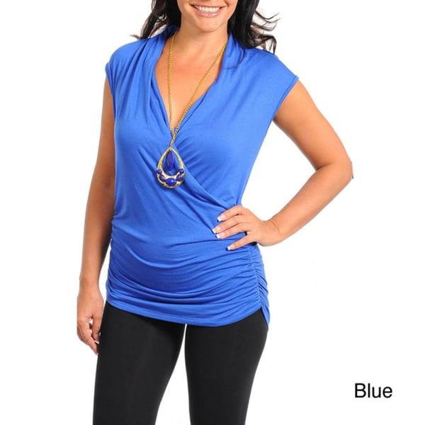 Stanzino Women's Plus Mock Wrap Top with Necklace