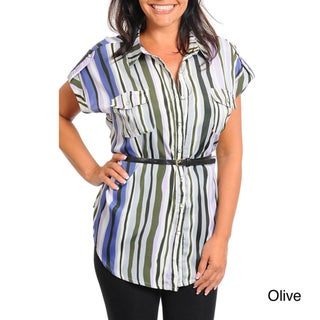 Stanzino Women's Plus Striped Button-up Shirt with Belt
