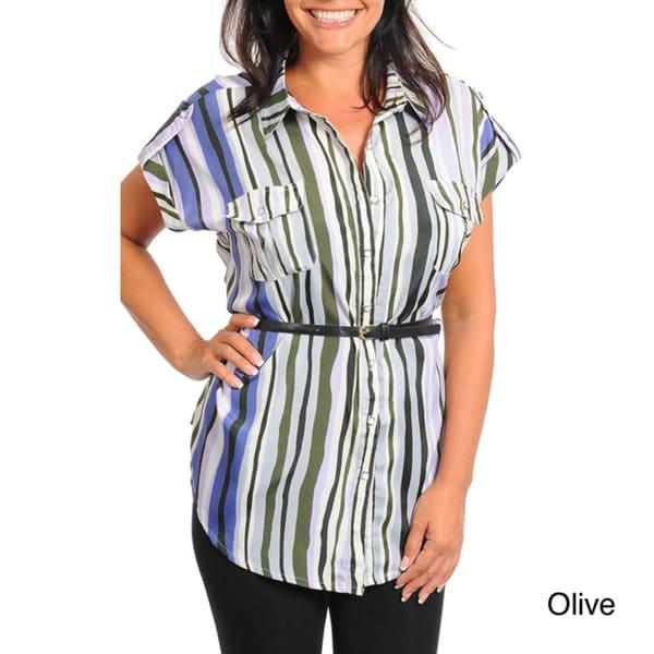 Stanzino Women's Plus Striped Button-up Shirt with Belt
