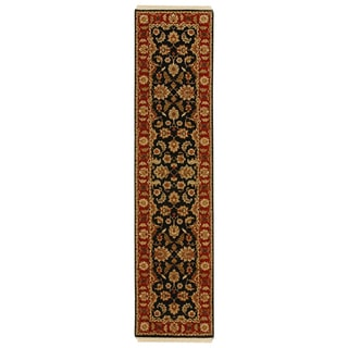 Hand-knotted Oriental Ebony Wool Runner Rug (2'6 x 12')
