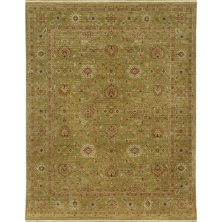 Hand-knotted Oriental Paradise Green Wool Area Rug (10' x 14')