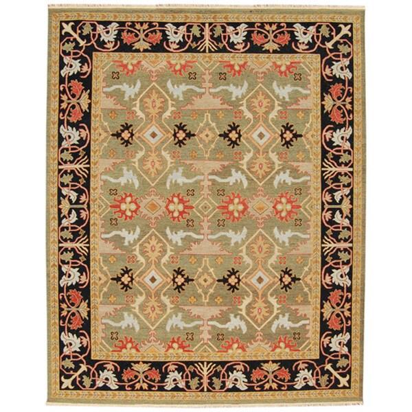 Hand-knotted Geometric Deep Green Wool Area Rug (4' x 6')
