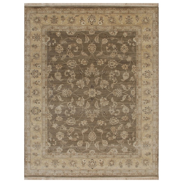 Hand-Knotted Oriental Grey Brown Wool Traditional Area Rug (2' x 3')