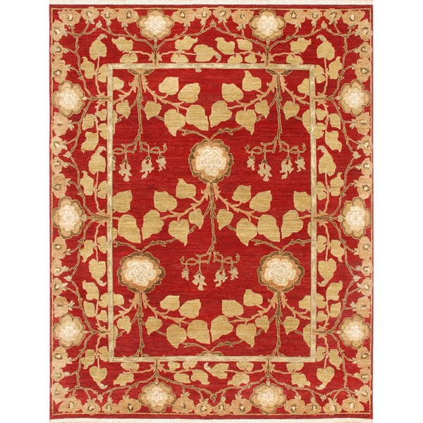 Hand Knotted Persian Wool Area Rug 5 10: Hand-knotted Oriental Red Wool Area Rug (8' X 10