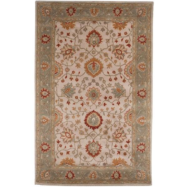 Hand-tufted Oriental Dark Ivory Wool Area Rug (9'6 x 13'6)