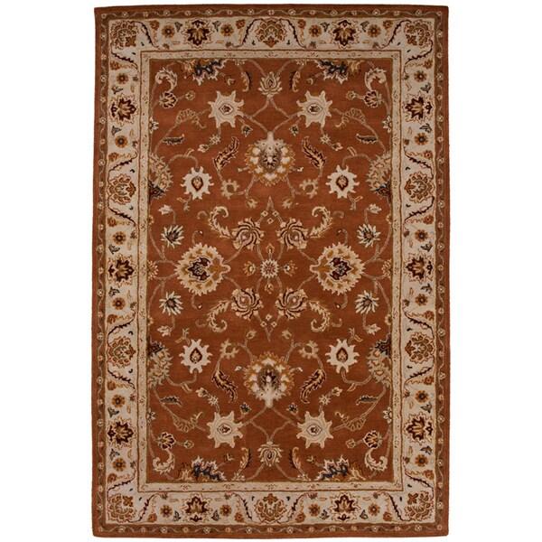 Hand-tufted Oriental Orange Rust Wool Area Rug (9'6 x 13'6)