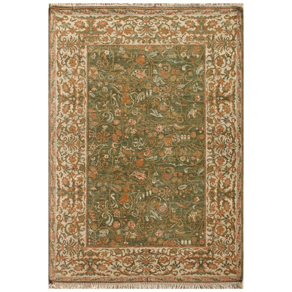 Hand-knotted Oriental Forest Green Wool Area Rug (9' x 12')