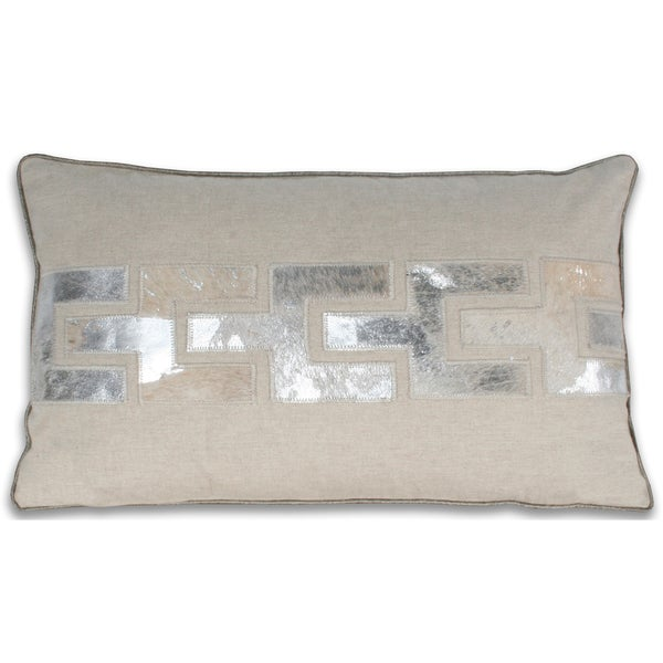 Marlo Lorenz Silver/ Grey Leather 12x20-inch Pillow