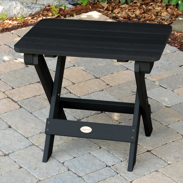 Highwood Eco-Friendly Synthetic Wood Embossed Folding Adirondack Side-Table