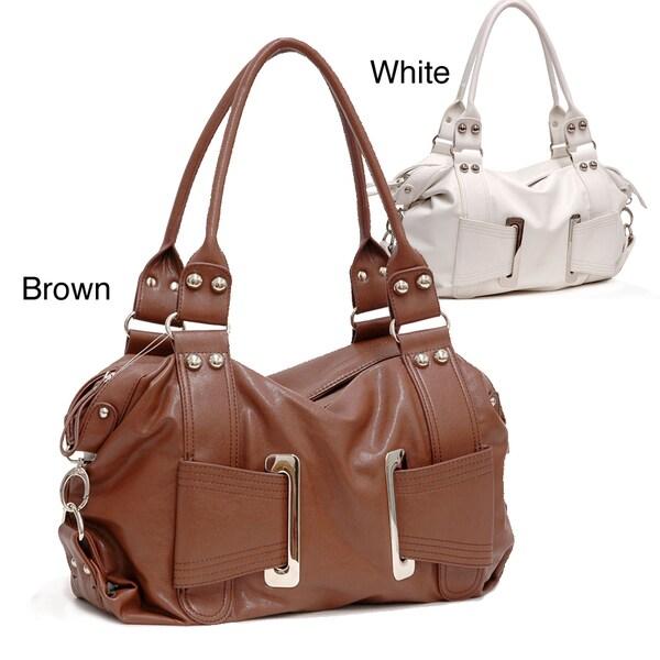 Dasein White Mod Buckle Shoulder Bag