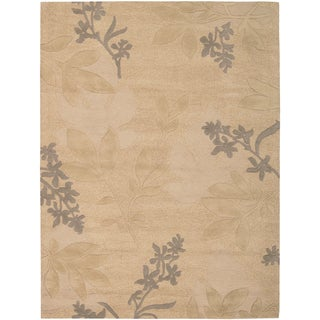 Nourison Hand-tufted Skyland Gold All Over Leaf Rug