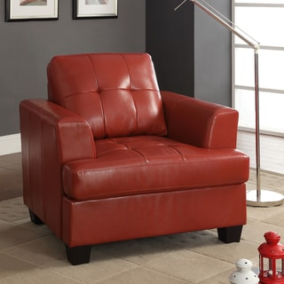Cartona Red Bonded Leather Contemporary Track Arm Accent Chair