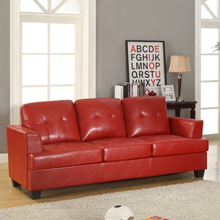 Cartona Red Bonded Leather Contemporary Track Arm Sofa