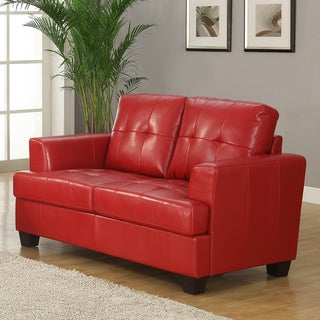 Cartona Red Bonded Leather Contemporary Track Arm Loveseat