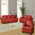Cartona Red Bonded Leather Tufted 3-piece Living Room Set