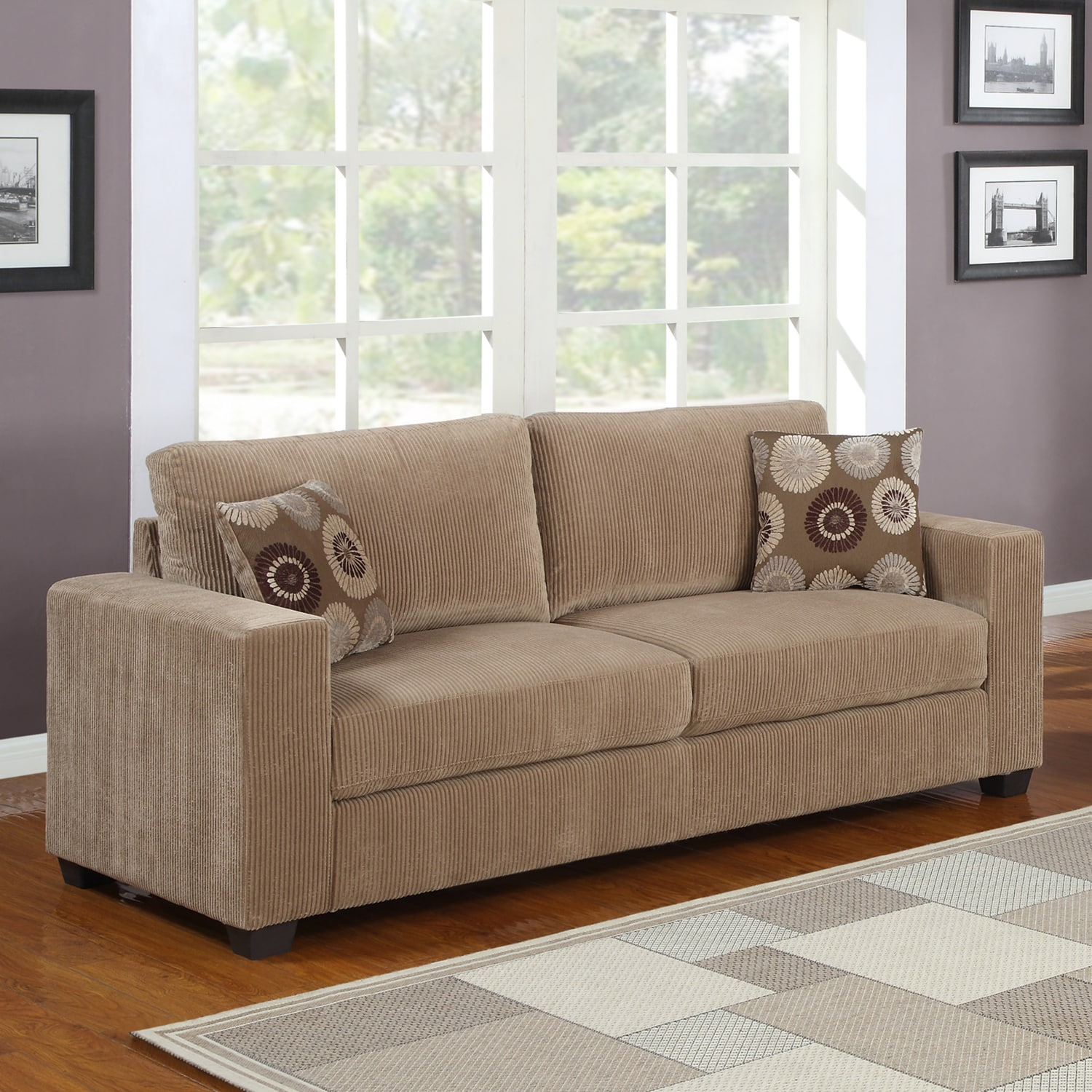 Colette brown corduroy sofa overstock shopping great for Brown corduroy couch