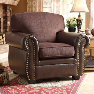 Darian Chocolate Chenille/ Vinyl Chair