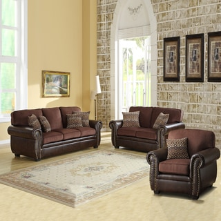Darian Chocolate Chenille/ Vinyl Sofa Set