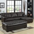 Delphine Dark Brown Bonded Leather Sectional Set