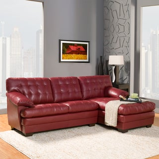 Delphine Red Bonded Leather Sectional