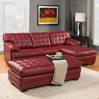 Delphine Red Bonded Leather Sectional Set