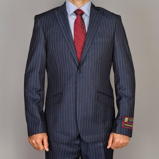 Men's Blue Stripe Single-breasted Peak Lapel Slim-Fit Suit