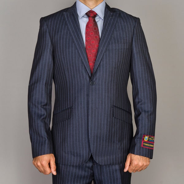 Men's Blue Stripe Single-breasted Peak Lapel Slim-Fit Suit