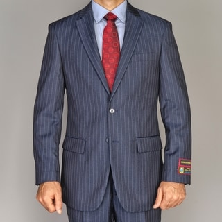 Men's Blue Striped 2-button Suit