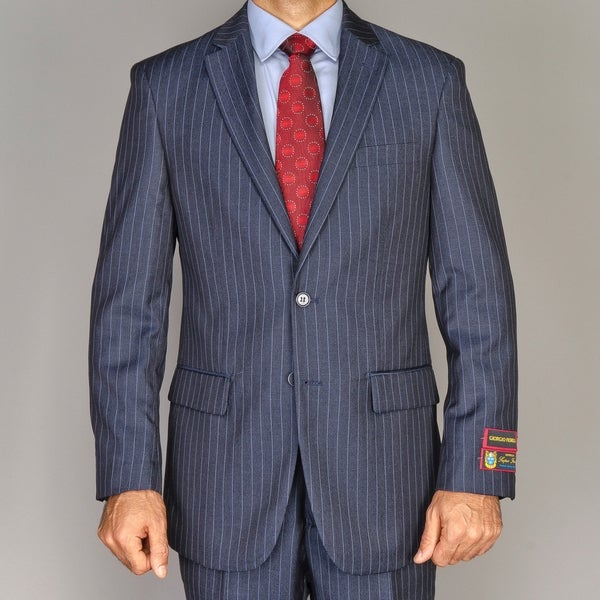Men's Blue Striped 2-button Suit
