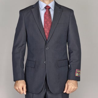 Men's Black Stripe 2-button Suit