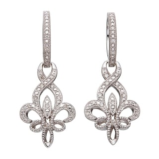 Sterling Silver 1/4ct TDW Diamond Fleur De Lis Dangle Earrings (H-I I2)