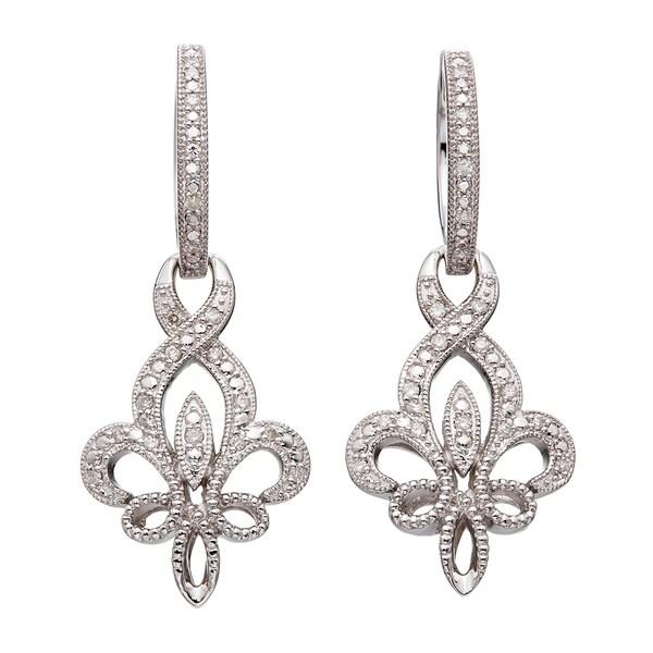 Sterling Silver 1/4ct TDW Diamond Fleur De Lis Dangle Earrings (H-I I2)