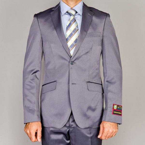 Men's Slim Fit Shiny Grey Suit