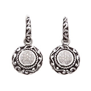 Sterling Silver 1/4ct TDW Black Antique Diamond Earrings (H-I I2)