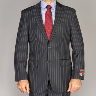 Men's Black Pinstripe 2-button Suit