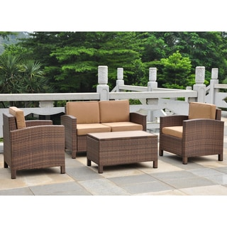 International Caravan Barcelona Resin Wicker/Aluminum Settee Set with Cushions (Set of  4)