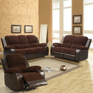 Arbor Chocolate Brown Corduroy 3-piece Living Room Recliner Set