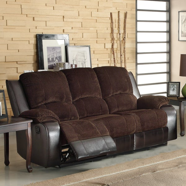 Arbor chocolate brown corduroy two tone double recliner for Brown corduroy couch