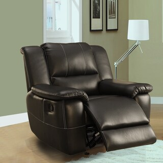 TRIBECCA HOME Griffin Black Bonded Leather Oversized Glider Recliner Chair