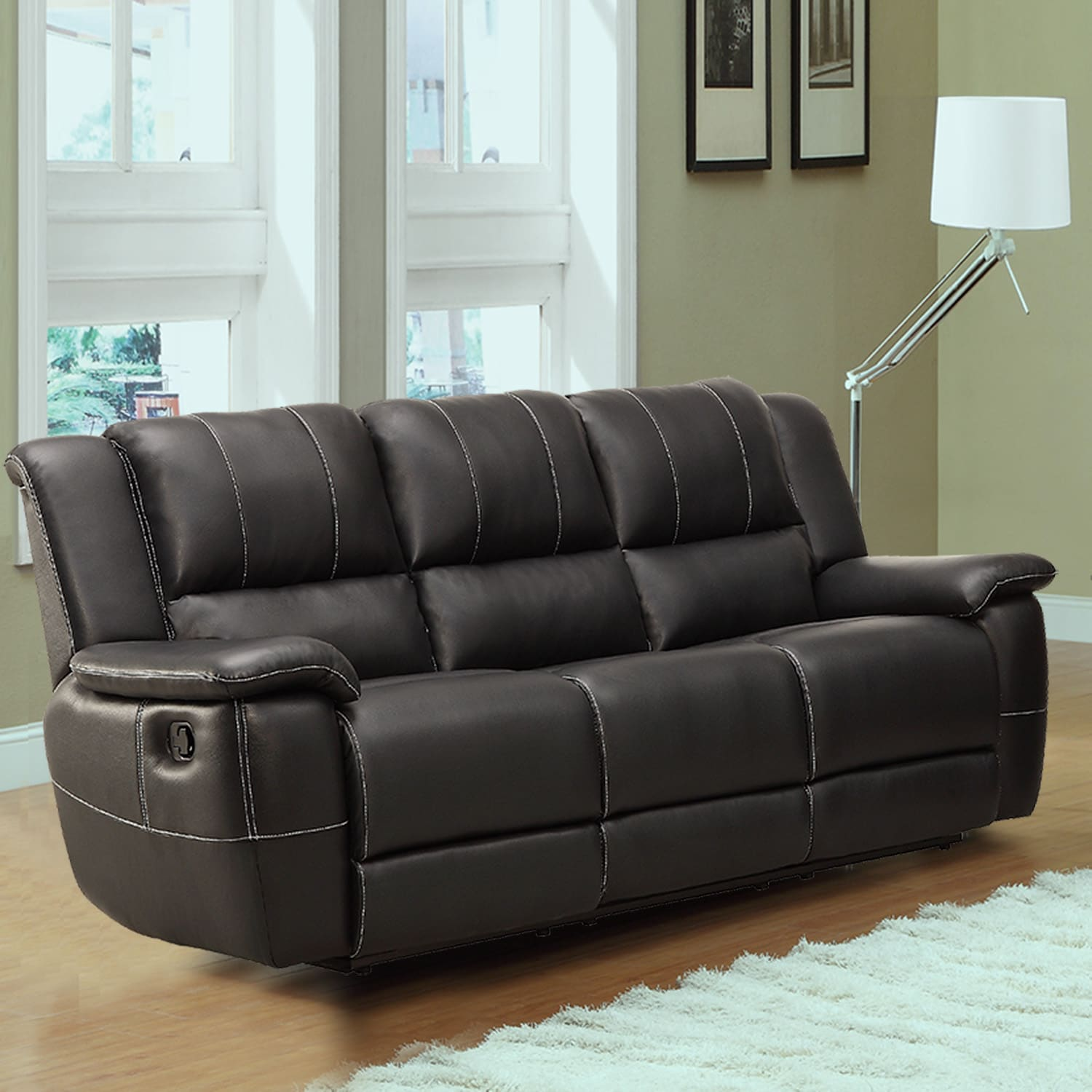 TRIBECCA HOME Griffin Black Bonded Leather Oversized Double Recliner Sofa at Sears.com