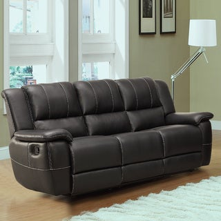 Griffin Black Bonded Leather Oversized Double Recliner Sofa